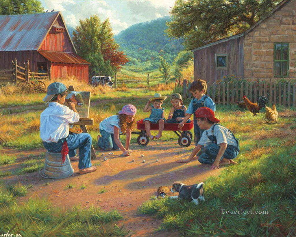 8-playing-kids-at-country-house-with-puppy-cow-chicken-pet-kids