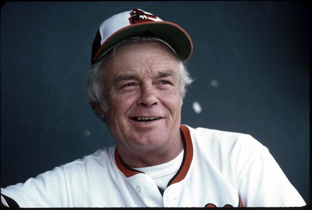 BALTIMORE - 1980:  Manager Earl Weaver #4 of the Baltimore Orioles in 1980.  Earl Weaver was a manager from 1968-1982 and 1985-1986.  (Photo by Rich Pilling/ MLB Photos via Getty Images)